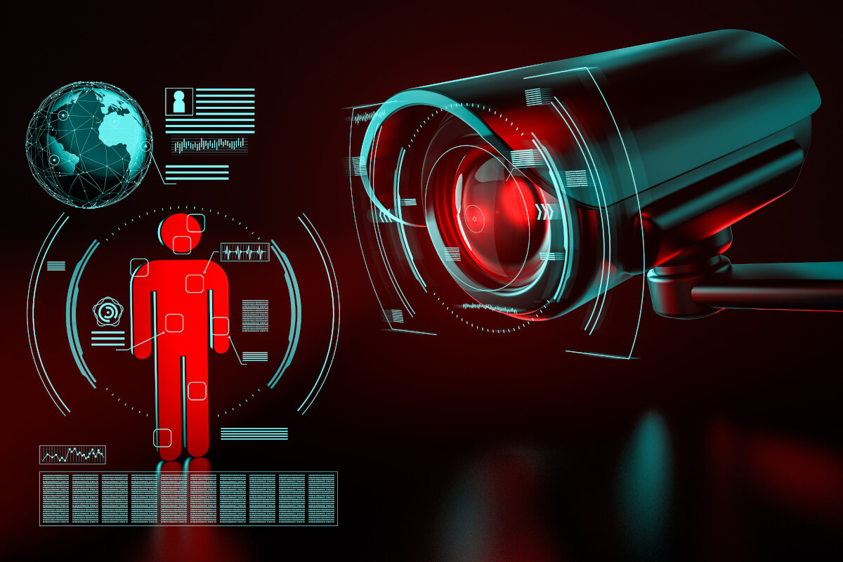 Big surveillance camera focusing on a human icon and collecting data 3D rendering