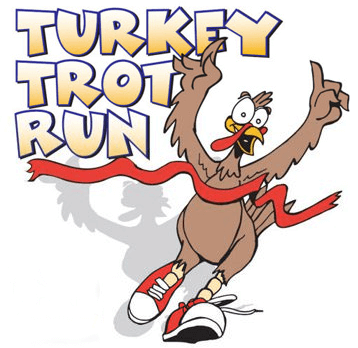 Turkey running through a red tape below the words 'Turkey Trot Run'