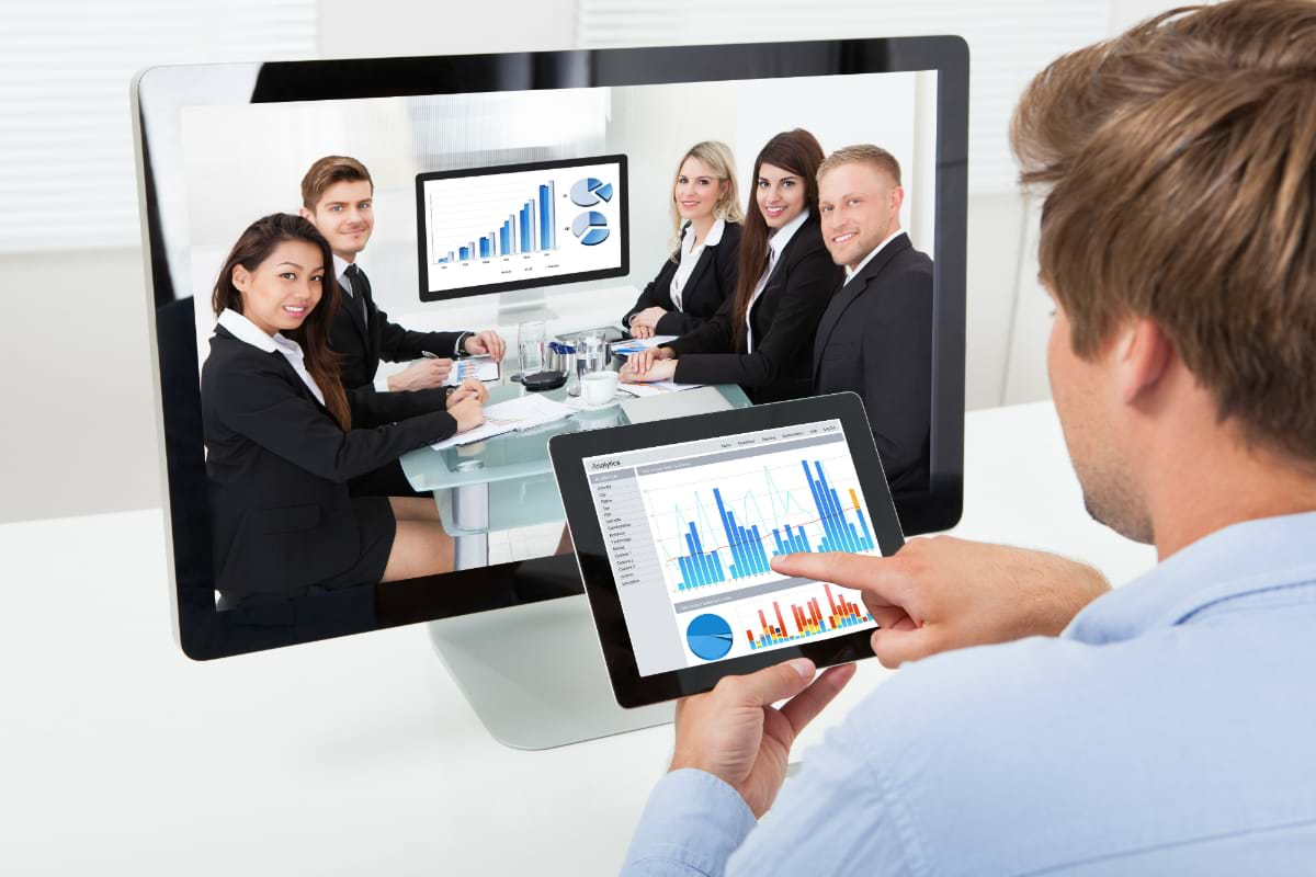 Business People Holding a Video Conference Meeting