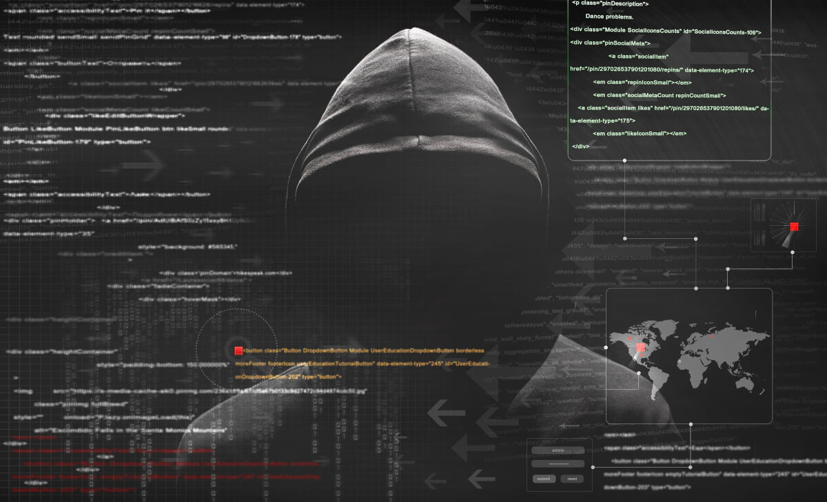 Hacker in a hood writing code targeting several locations around the world